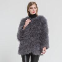 Damen Echte Strauß Pelzmantel Furry Warm Jacke Winter Overcoat Neu Mode 47381