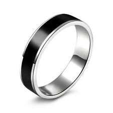 Black Titanium Band Stainless Steel Ring JewelryFor Men Women Size16-22 KQ
