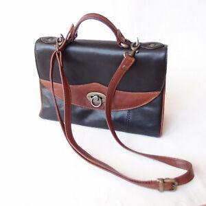 Vintage JOAN WEISZ Black Brown Leather Satchel Shoulder Handbag Cross Messenger