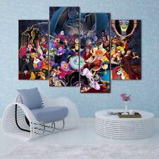 Walt Disney Villains 4PCS HD Canvas Print Home Decor Room Wall Art Pictures