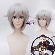 Touken Ranbu Hotarumaru Light Gray Short 30CM Anime Cospaly Wig + Wig Cap