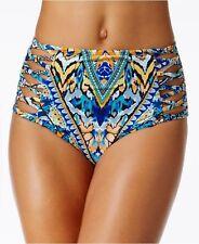 NEW BAR III On the Monarchy High Waist Strappy Bikini Bottom M Mediu Multicolor