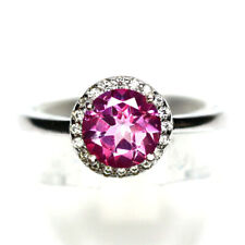 NATURAL 7 mm. PINK MYSTIC TOPAZ & WHITE CZ RING 925 STERLING SILVER SZ 6.75