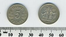Iceland 1969 - 5 Kronur Copper-Nickel Coin - Shield with supporters