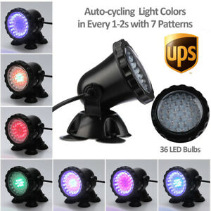New Submersible 36 LED RGB Pond Spot Lights for Underwater Pool Fountain Lamp US