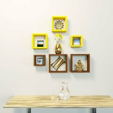Wooden wall shelves of Square shape set of 6 for Living Room and Bedroom.