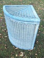 Para la ropa para, eckwäschekorb de junco/peddigrohr, azul