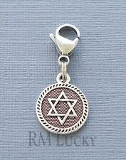 Star David Clip On Charm Dangle. Fit Link Chain, Floating locket necklace c219
