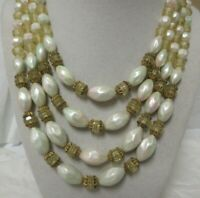 Vintage Gold Tone Four Strand Iridescent White & Yellow Faceted Bead Necklace