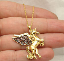 Diamond Angel Wing Unicorn Pegasus Pendant Necklace Rope Chain Real 925 Silver