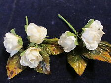 "Millinery Flower 3 White Rose 1 1/4"" Rosebud Lot 2pc for Hat Wedding + Hair Y193"
