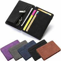 Mens Unisex Leather Ultra Slim Mini Credit Id Card Note Case Wallet Money Holder