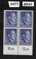 #6477     MNH 1943 block 50 Gr / Adolph Hitler /  Occupied Poland / Third Reich