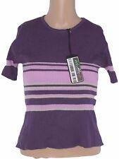 maglia donna viola stretch manica corta lana merinos taglia m medium