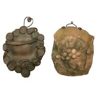Set Of 2 Studio Pottery Wall Pocket With Grape and Vine Design