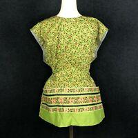 VINTAGE Handmade Full Work Apron Chore Housework Hearts Floral Green Pink Pocket