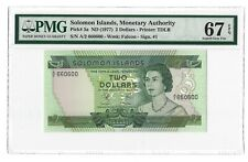 SOLOMON ISLANDS 2 Dollars 1977, P-5a PMG 67 EPQ Superb Gem UNC, S/N 660600 QEII