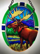 Joan Baker Hand painted Suncatcher-SO438R-Moose Art Glass New Item Original Box