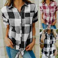 ZANZEA UK Womens Casual Short Sleeve Button Down Check Shirts Tops Ladies Blouse