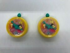 """2 - 1994 Polly Pocket McDonald's Pretend Play Clip on """"Wind-Up"""" Watch Toys 1.5"""""""
