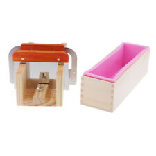 Wooden Soap Mold Silicone Mould and Wooden Soap Cutter Box w/ 2 Steel Cutter