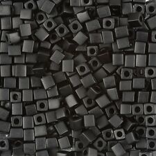 Miyuki Matte Opaque Black 4mm Square (Cube) Glass Seed Beads 20g Tube (B87/13)