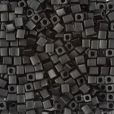 Miyuki Matte Opaque Black 4mm Square (Cube) Glass Seed Beads 20g Tube (B87/13)