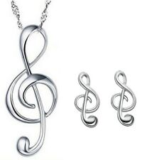 Sterling Silver G Clef Pendant Treble Musical Note Symbol Necklace Earrings K64