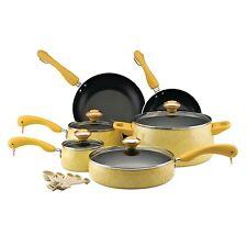Paula Deen 12514 Signature Nonstick Cookware Pots and Pans Set, 15 Piece, Butter