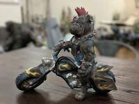 Punk Biker Mohawk Goth Thug Bulldog Dog Spikes Harness Kinky Ornament Figurine