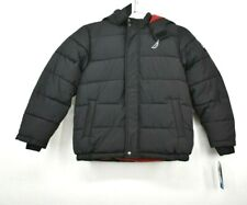Nautica Boys Black Signature Bubble Puffer Jacket Hooded Water Resistant M 10/12