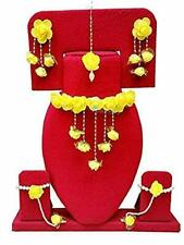 Indian Bollywood Flower Bridal Jewelry Necklace Earrings Tikka Bracelet Set 6Pcs