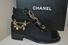 Auth CHANEL $1750+ 15A Dark Navy Black Iconic Charms MotoBike Ankle Boots 39 - 9