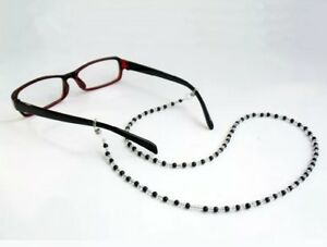 Black beaded cord lace lanyard strap string eyeglasses mag reading sunglasses