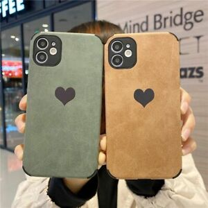 Luxury Faux Suede Leather Love Heart Bumper Phone Case For iPhone 12 11 X XS SE