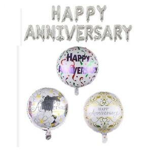 "Happy Anniversary Balloons Foil Party Decoration Fun Wedding 18"" and 16"" Letters"