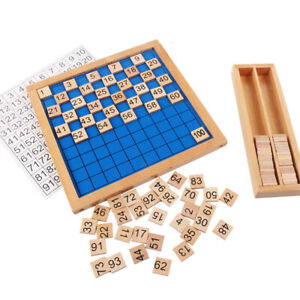 100 Grid Board Montessori Toy Counting Block Puzzles Early Educational Math Tool