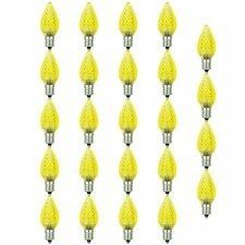 24 Pack Sunlite LED C7 0.4W Yellow Colored Decorative Chandelier Light Bulb