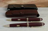MONTBLANC Meisterstuck Burgundy Red 161R Ballpoint Pen & 167R Pencil w Case