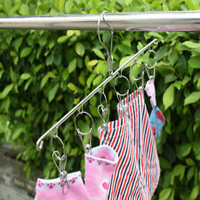 2PCS 6 Clips Clothes Hanger Laundry Hanging Dryer Socks Rack Holder Airer