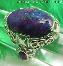 "7/8"" PURPLE TURQUOISE STERLING SILVER 0.925 ESTATE COCKTAIL RING size 7.25"