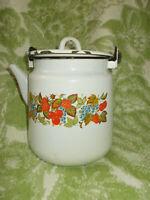 vintage Soviet era  enamelware kettle teapot decorated with berries