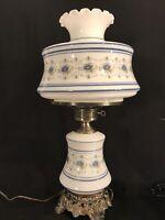 "Vintage Quoizel Abigail Adams Lamp Blue Poppy 1973 26"" TALL Glass Hurricane GWTW"