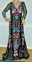 New $3,495 Temperley London Woodland Embroidered Long Maxi Dress Gown UK 10 US 6