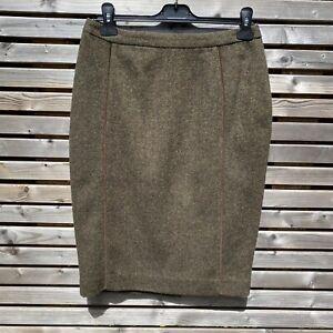 Joules Herringbone Green Wool Blend Isadora Tweed Pencil Skirt Size 10 BNWOT