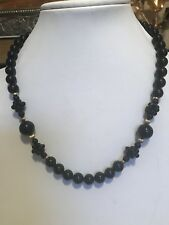 Vintage 14K Gold Bead Black Onyx Beaded Strand  Necklace