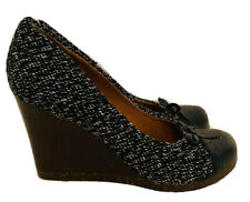 Scholl Tweed Wedged Court Shoes Size Uk 4 Brogue Style Rubber Sole