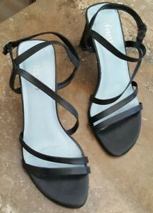FAITH BLACK LEATHER STRAPPY SANDALS SIZE 5