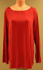 Eileen Fisher Wide Neck Long Sleeve Red Jersey Tee - XL, Style F4VF - NWOT