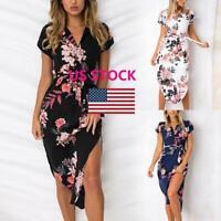 US STOCK Women Boho Floral Long Maxi Dress Cocktail Party Evening Beach Sundress